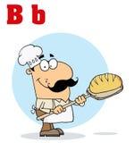 Caucasian cartoon bread maker man. Funny cartoons alphabet-male baker with letters B stock illustration