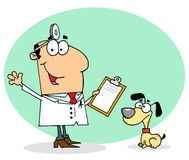 Caucasian cartoon canine veterinarian man. Waving stock illustration