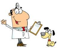 Caucasian cartoon dog veterinarian man. Caucasian cartoon canine veterinarian man and a dog standing in front of him Stock Images
