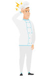 Caucasian chef cook with lightning over his head. Caucasian chef cook with lightning over head. Full length of chef cook with lightning. Confident chef cook Royalty Free Stock Image