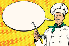 Free Caucasian Chef With Ladle For Cooking, Comic Bubble Royalty Free Stock Image - 95337236