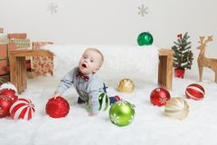 Caucasian child baby celebrating Christmas or New Year royalty free stock images