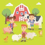Caucasian children playing with farm animals. Royalty Free Stock Photography