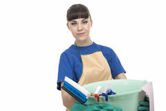 Caucasian Cleaner Maid Woman With Cleaning Gear Royalty Free Stock Photography