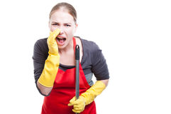 Caucasian cleaning lady shouting out loud stock photos