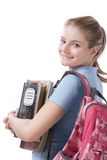 Caucasian college student with backpack copybooks Stock Photo