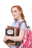 Caucasian college student with backpack copybooks Stock Photos