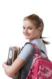 Caucasian college student with backpack notebooks Stock Photography