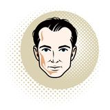 Caucasian confident brunet male, attractive man face, vector hum. An portrait vector illustration