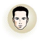 Caucasian confident brunet male, attractive man face, vector hum. An portrait Stock Photos