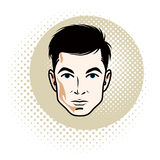 Caucasian confident brunet male, attractive man face, vector. Human portrait vector illustration