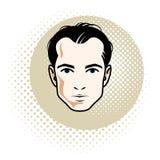 Caucasian confident brunet male, attractive man face, vector hum. An portrait Stock Image