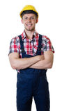 Caucasian construction worker with crossed arms Royalty Free Stock Photography