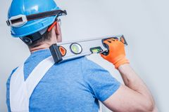 Worker with Spirit Level royalty free stock photography