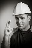 Caucasian contractor male 40 years old shot in Stock Image