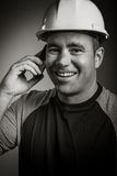 Caucasian contractor male 40 years old shot in Royalty Free Stock Photos