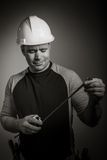 Caucasian contractor male 40 years old shot in Royalty Free Stock Photo