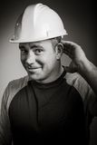 Caucasian contractor male 40 years old shot in Royalty Free Stock Photography
