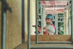 Contractor Working on Hight stock photos