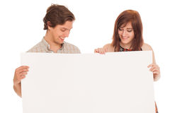 Caucasian couple with blank papers Stock Images