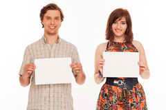 Caucasian couple with blank papers Royalty Free Stock Photo