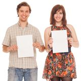 Caucasian couple with blank papers Royalty Free Stock Image