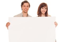 Caucasian couple with blank papers Stock Photography