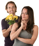 Caucasian Couple Expressing Forgiveness Royalty Free Stock Photos