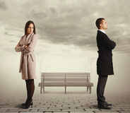Caucasian couple in quarrel. Young caucasian couple in quarrel Stock Photos