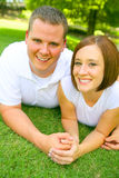 Caucasian Couple Smiling Look At Camera stock photos