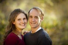 Caucasian couple smiling in love stock photo