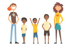 Caucasian couple and three Afro-American teenager boys. Happy interracial family. Young parents with children. Flat royalty free illustration