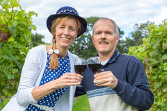 Caucasian couple toasting with glasses of red wine in vineyard Royalty Free Stock Photo