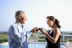 Caucasian couple toasting wine glasses. Stock Photography