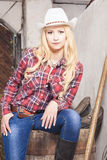 Caucasian Cowgirl In Stetson Sitting on Barrel on the Farm. With Agricultural Stuff. Vertical Image Royalty Free Stock Image