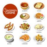 Caucasian cuisine menu layout Stock Photo