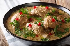 Caucasian cuisine: Satsivi with chicken and pomegranate close-up in a bowl. horizontal. Caucasian cuisine: Satsivi with chicken and pomegranate close-up in a royalty free stock photos