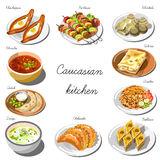 Caucasian cuisine set. Collection of food dishes Royalty Free Stock Image