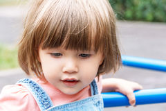 Caucasian cute girl with short hair stock photos