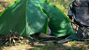 Caucasian dad and son assembling tent on holiday outdoors stock video