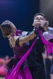 Caucasian dance couple performs Juvenile-1 Standard European program Stock Photos