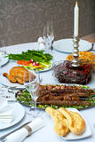 Caucasian dinner. Table served with caucasian dishes Stock Photo