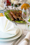 Caucasian dinner. Table served with caucasian dishes Stock Images