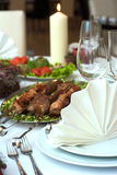 Caucasian dinner. Table served with caucasian dishes Stock Image