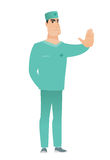 Caucasian doctor showing stop hand gesture. Royalty Free Stock Photography