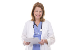 Caucasian doctor on white. Caucasian woman wearing doctor's scrubs on white background Royalty Free Stock Image