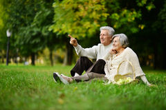 Caucasian elderly couple Stock Images