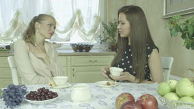 Caucasian elegant woman comforting sad friend at home during tea time stock video footage