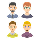 Caucasian emotion male head stressed character portrait loneliness surprised man vecor illustration. Royalty Free Stock Photo