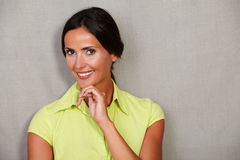 Caucasian ethnicity woman with hand on chin Royalty Free Stock Images